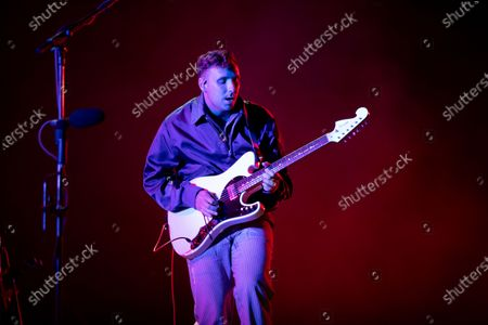 Stock Picture of Sam Halliday - Two Door Cinema Club - performing at a socially distanced show