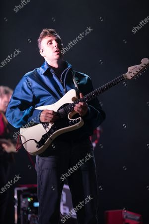 Sam Halliday - Two Door Cinema Club - performing at a socially distanced show
