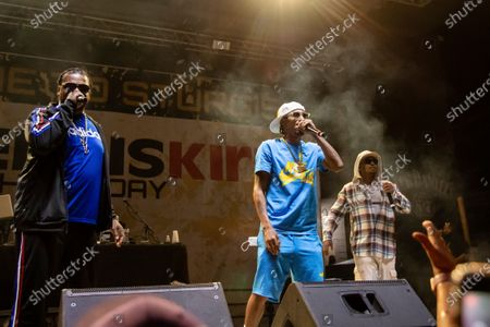 Layzie Bone, from left, Bizzy Bone and Wish Bone of Bone Thugs-n-Harmony perform at the Iron Horse Saloon during the 80th annual Sturgis Motorcycle Rally, in Sturgis, S.D