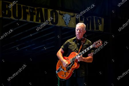 Jim Heath of The Reverend Horton Heat performs on the Wolfman Jack Stage at Buffalo Chip during the 80th annual Sturgis Motorcycle Rally, in Sturgis, S.D