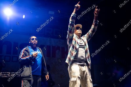 Stock Image of Layzie Bone, left, and Wish Bone of Bone Thugs n Harmony perform at the Iron Horse Saloon during the 80th annual Sturgis Motorcycle Rally, in Sturgis, S.D