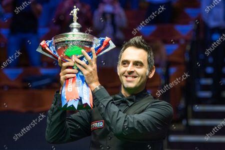 Stock Photo of Ronnie O'Sullivan wins the 2020 Snooker World Championship