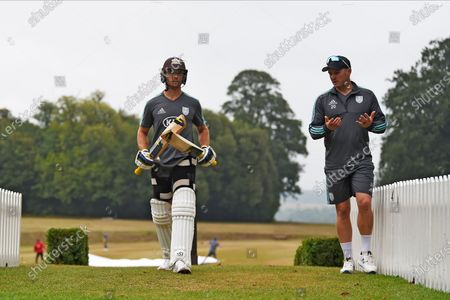 Laurie Evans and Jason Roy of Surrey ahead of day two of  the Bob Willis Trophy match between Hampshire County Cricket Club and Surrey County Cricket Club at Arundel Castle, Arundel