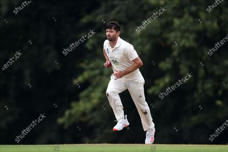 Ian Holland of Hampshire running in to bowl to Jamie Smith during the Bob Willis Trophy match between Hampshire County Cricket Club and Surrey County Cricket Club at Arundel Castle, Arundel