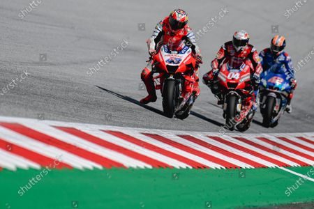 (L-R) Australian MotoGP rider Jack Miller of Pramac Racing, Italian MotoGP rider Andrea Dovizioso of Ducati Team and Spanish MotoGP rider Alex Rins of Team SUZUKI ECSTAR in action during the Motorcycling Grand Prix of Austria at the Red Bull Ring in Spielberg, Austria, 16 August 2020.