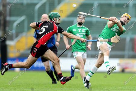 Oulart The Ballagh vs Naomh Eanna. Naomh Eanna's Aodhan Doyle and Shaun Murphy of Oulart The Ballagh