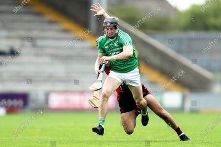 Stock Picture of Oulart The Ballagh vs Naomh Eanna. Naomh Eanna's Sean Doyle and Shaun Murphy of Oulart The Ballagh