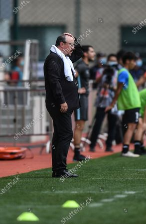 Stock Picture of Rafael Benitez, head coach of Dalian Yifang, reacts during the fifth round match between Guangzhou R&F and Dalian Yifang at the postponed 2020 season Chinese Football Association Super League (CSL) Dalian Division in Dalian, northeast China's Liaoning Province, Aug. 16, 2020.