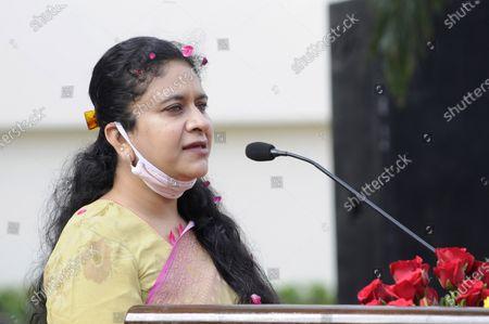 Noida CEO Ritu Maheshwari speaks during the 74th Independence Day celebrations at Indira Gandhi Kala Kendra at Sector 6, on August 15, 2020 in Noida, India.