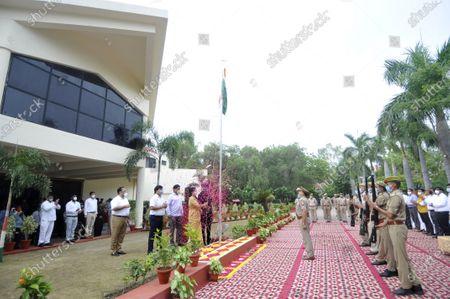 Noida CEO Ritu Maheshwari hoisting the national flag during 74th Independence Day celebrations at Indira Gandhi Kala Kendra at Sector 6, on August 15, 2020 in Noida, India.
