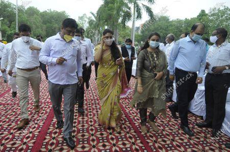 Noida CEO Ritu Maheshwari (C) during 74th independence Day celebrations at Indira Gandhi Kala Kendra at Sector 6, on August 15, 2020 in Noida, India.