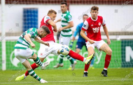 St. Patrick's Athletic vs Shamrock Rovers. St. Patrick's Athletic's Jamie Lennon with Jack Byrne of Shamrock Rovers