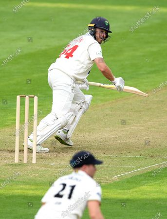Tom Cullen of Glamorgan plays a shot.