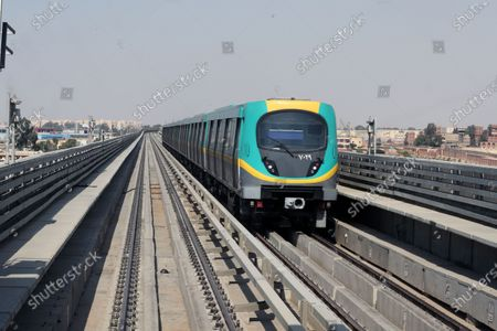 A train arriving to Adly Mansour metro station in Cairo, Egypt, 16 August 2020. 6 new stations opened on 16 August 2020 as part of the fourth phase of the third line in Cairo's metro.