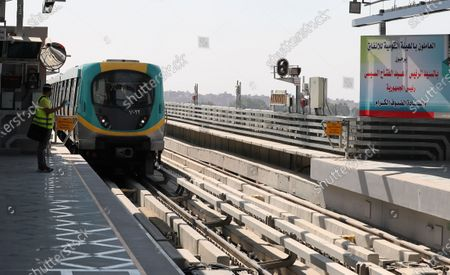 Stock Image of A train arriving to Adly Mansour metro station in Cairo, Egypt, 16 August 2020. 6 new stations opened on 16 August 2020 as part of the fourth phase of the third line in Cairo's metro.