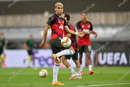 Stock Image of Manchester United's Andreas Pereira controls the ball during warm up prior to the start of an Europa League semifinal match between Sevilla and Manchester United, in Cologne, Germany