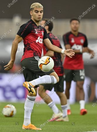 Andreas Pereira of Manchester United warms up prior tothe UEFA Europa League semi final match between Sevilla FC and Manchester United in Cologne, Germany, 16 August 2020.