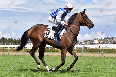 , Deauville, Unveil with Maxime Guyon at Deauville racecourse, France.