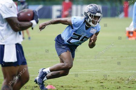 Stock Image of Tennessee Titans cornerback Adoree' Jackson (25) runs a drill during NFL football training camp, in Nashville, Tenn