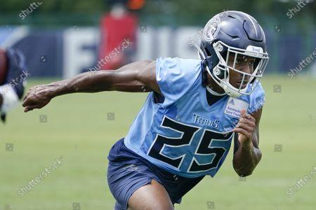 Tennessee Titans cornerback Adoree' Jackson (25) runs a drill during NFL football training camp, in Nashville, Tenn