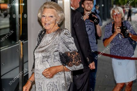 Stock Picture of Princess Beatrix (L) arrives at the Concertgebouw for a concert by the European Union Youth Orchestra in Amsterdam, the Netherlands, 16 August 2020.