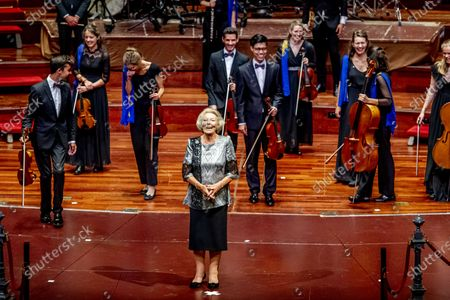 Princess Beatrix (C) stands on the stage in the Concertgebouw after a concert by the European Union Youth Orchestra in Amsterdam, the Netherlands, 16 August 2020.