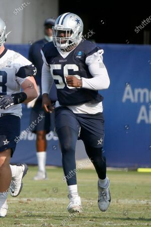 Dallas Cowboys defensive end Joe Jackson (56) chases a play during an NFL football training camp in Frisco, Texas