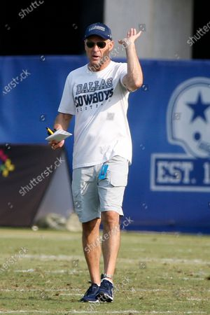 Dallas Cowboys Defensive Coordinator Mike Nolan gives direction during an NFL football training camp in Frisco, Texas