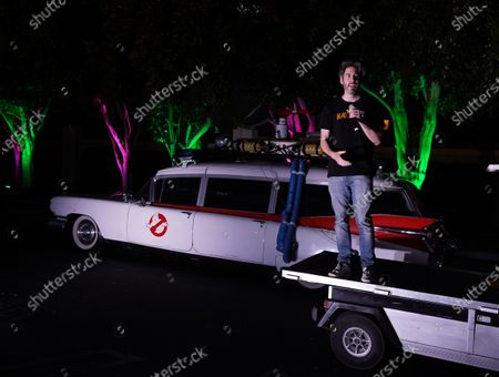 Jason Reitman introduces a screening of the original Ghostbusters at the Sony Pictures drive-in on the historic Sony Pictures lot.
