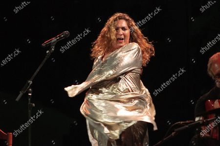 Spanish Flamenco singer Estrella Morente performs during a concert held as part of La Cana Flamenca music festival in the town of Almunecar, Spain,16 August 2020 (issued on 17 August 2020). The festival runs through to 28 August 2020.