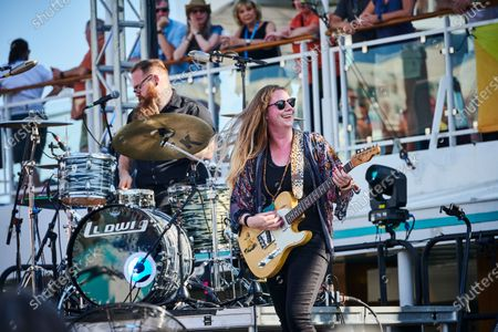 English blues rock guitarist Joanne Shaw Taylor performing live on stage during the Keeping The Blues Alive At Sea event on board the Norwegian Pearl cruise ship in the Mediterranean, on August 16, 2019. (Photo by Joby Sessions/Guitarist Magazine)
