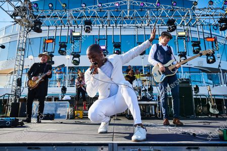 (L-R) Nalle Colt, Ty Taylor and Rick Barrio Dill of American R&B group Vintage Trouble performing live on stage during the Keeping The Blues Alive At Sea event on board the Norwegian Pearl cruise ship in the Mediterranean, on August 18, 2019. (Photo by Joby Sessions/Guitarist Magazine)