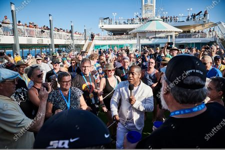 Vocalist Ty Taylor of American R&B group Vintage Trouble performing live on stage during the Keeping The Blues Alive At Sea event on board the Norwegian Pearl cruise ship in the Mediterranean, on August 18, 2019. (Photo by Joby Sessions/Guitarist Magazine)
