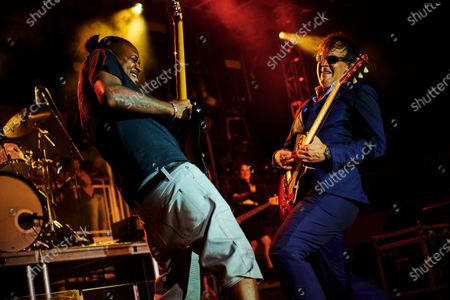 Stock Picture of American blues rock guitarists Joe Bonamassa (R) and Eric Gales performing live on stage during the Keeping The Blues Alive At Sea event on board the Norwegian Pearl cruise ship in the Mediterranean, on August 19, 2019. (Photo by Joby Sessions/Guitarist Magazine)