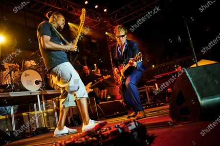 American blues rock guitarists Joe Bonamassa (R) and Eric Gales performing live on stage during the Keeping The Blues Alive At Sea event on board the Norwegian Pearl cruise ship in the Mediterranean, on August 19, 2019. (Photo by Joby Sessions/Guitarist Magazine)