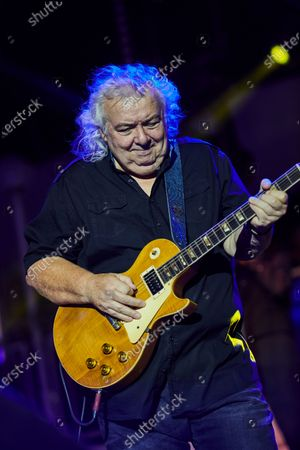 English rock guitarist Bernie Marsden performing live on stage during the Keeping The Blues Alive At Sea event on board the Norwegian Pearl cruise ship in the Mediterranean, on August 19, 2019. (Photo by Joby Sessions/Guitarist Magazine)