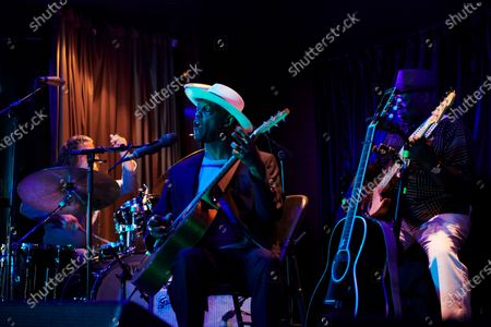 Stock Photo of MEDITERRANEAN SEA - AUGUST 16: American blues guitarist Eric Bibb performing live on stage during the Keeping The Blues Alive At Sea event on board the Norwegian Pearl cruise ship in the Mediterranean, on August 16, 2019. (Photo by Joby Sessions/Guitarist Magazine)