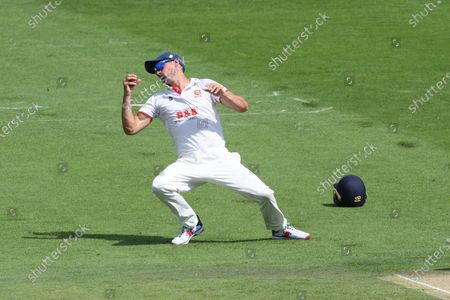 Wicket - Sir Alistair Cook catches Aaron Thomason of Sussex off the bowling of Simon Harmer during the Bob Willis Trophy match between Sussex County Cricket Club and Essex County Cricket Club at the 1st Central County Ground, Hove
