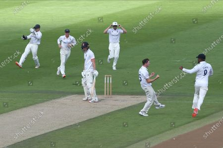 Wicket - Sussex celebrate the dismissal of Dan Lawrence after the Essex batsman was caught by Ben Brown off the bowling of George Garton of for 6 to leave the visitors 30 - 3 during the Bob Willis Trophy match between Sussex County Cricket Club and Essex County Cricket Club at the 1st Central County Ground, Hove