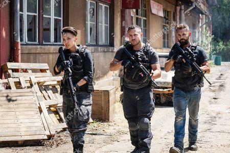 Alin Sumarwata as LCpl. Gracie Novin, Warren Brown as Sgt. Thomas 'Mac' McAllister and Daniel MacPherson as Sgt. Samuel Wyatt