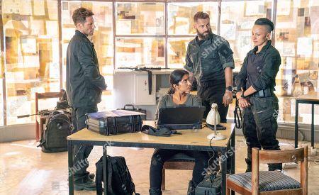 Jamie Bamber as Col. Alexander Coltrane, Varada Sethu as LCpl. Manisha Chetri, Daniel MacPherson as Sgt. Samuel Wyatt and Alin Sumarwata as LCpl. Gracie Novin
