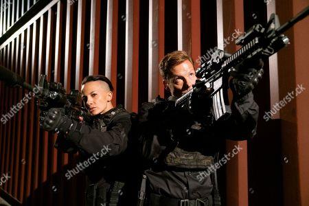 Alin Sumarwata as LCpl. Gracie Novin and Jamie Bamber as Col. Alexander Coltrane