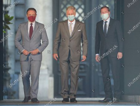Belgium negotiators for the formation of the federal government, Bart De Wever (L), leader of the New Flemish Alliance (Nieuw-Vlaamse Alliantie, N-VA) party, and Paul Magnette, leader of the Socialist Party (PS) are welcomed by King Philippe of Belgium (back) ahead of their meeting at the Royal Palace in Brussels, Belgium, 17 August 2020, regarding the formation of a new government after the federal elections in May 2019. According to media reports, the two negotiators will announce their resignation after they could not find an agreement with others parties to form a new government.