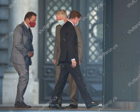 Belgium negotiators for the formation of the federal government, Bart De Wever (L), leader of the New Flemish Alliance (Nieuw-Vlaamse Alliantie, N-VA) party, and Paul Magnette (R), leader of the Socialist Party (PS) are welcomed by King Philippe of Belgium (C) ahead of their meeting at the Royal Palace in Brussels, Belgium, 17 August 2020, regarding the formation of a new government after the federal elections in May 2019. According to media reports, the two negotiators will announce their resignation after they could not find an agreement with others parties to form a new government.