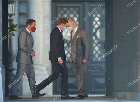 Belgium negotiators for the formation of the federal government, Bart De Wever (L), leader of the New Flemish Alliance (Nieuw-Vlaamse Alliantie, N-VA) party, and Paul Magnette (-2-L), leader of the Socialist Party (PS) are welcomed by King Philippe of Belgium (R) ahead of their meeting at the Royal Palace in Brussels, Belgium, 17 August 2020, regarding the formation of a new government after the federal elections in May 2019. According to media reports, the two negotiators will announce their resignation after they could not find an agreement with others parties to form a new government.