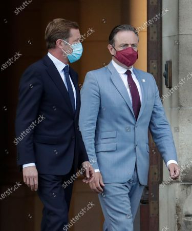 Belgium negotiators for the formation of the federal government, Bart De Wever (R), leader of the New Flemish Alliance (Nieuw-Vlaamse Alliantie, N-VA) party, and Paul Magnette (L), leader of the Socialist Party (PS) leave after a meeting with King Philippe of Belgium at the Royal Palace in Brussels, Belgium, 17 August 2020, regarding the formation of a new government after the federal elections in May 2019. According to media reports, the two negotiators will announce their resignation after they could not find an agreement with others parties to form a new government.