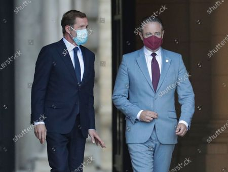 Stock Photo of Belgium negotiators for the formation of the federal government, Bart De Wever (R), leader of the New Flemish Alliance (Nieuw-Vlaamse Alliantie, N-VA) party, and Paul Magnette (L), leader of the Socialist Party (PS) leave after a meeting with King Philippe of Belgium at the Royal Palace in Brussels, Belgium, 17 August 2020, regarding the formation of a new government after the federal elections in May 2019. According to media reports, the two negotiators will announce their resignation after they could not find an agreement with others parties to form a new government.