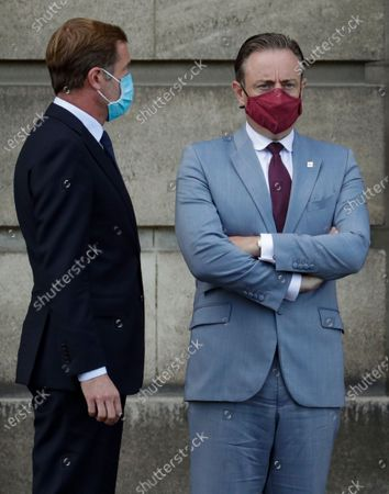 Stock Picture of Belgium negotiators for the formation of the federal government, Bart De Wever (R), leader of the New Flemish Alliance (Nieuw-Vlaamse Alliantie, N-VA) party, and Paul Magnette (L), leader of the Socialist Party (PS) leave after a meeting with King Philippe of Belgium at the Royal Palace in Brussels, Belgium, 17 August 2020, regarding the formation of a new government after the federal elections in May 2019. According to media reports, the two negotiators will announce their resignation after they could not find an agreement with others parties to form a new government.