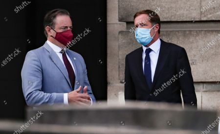 Stock Image of Belgium negotiators for the formation of the federal government, Bart De Wever (L), leader of the New Flemish Alliance (Nieuw-Vlaamse Alliantie, N-VA) party, and Paul Magnette (R), leader of the Socialist Party (PS) leave after a meeting with King Philippe of Belgium at the Royal Palace in Brussels, Belgium, 17 August 2020, regarding the formation of a new government after the federal elections in May 2019. According to media reports, the two negotiators will announce their resignation after they could not find an agreement with others parties to form a new government.
