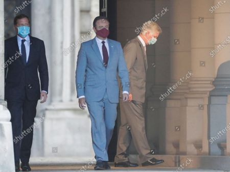 Belgium negotiators for the formation of the federal government, Bart De Wever (2-L), leader of the New Flemish Alliance (Nieuw-Vlaamse Alliantie, N-VA) party, and Paul Magnette (L), leader of the Socialist Party (PS) leave after a meeting with King Philippe of Belgium (R) at the Royal Palace in Brussels, Belgium, 17 August 2020, regarding the formation of a new government after the federal elections in May 2019. According to media reports, the two negotiators will announce their resignation after they could not find an agreement with others parties to form a new government.